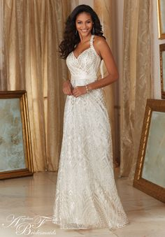 #2 Mori Lee - I like the fun sequin in the grey (taupe?)color  and would let the girls choose which style they feel most comfortable in