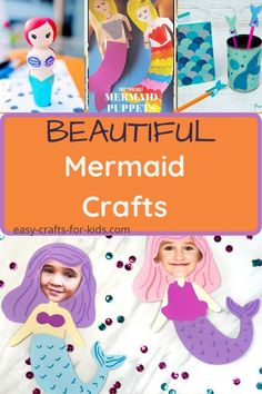 These easy mermaid crafts for kids are perfect for Summer Beach Crafts For Kids, Ocean Crafts, Crafts For Girls, Mermaid Kids, Mermaid Crafts, Epic Kids, Pink Crafts, Pencil Holders, Diy School Supplies