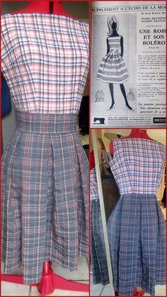 Patron gratuit robe 1961 vintage. Très simple à réaliser, le patron est à imprimer, sans manches, fermeutre à glissière sur le côté, taille haute d'époque.  Tailles : 38,40,42