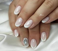 Bride's nails, French nails, French nails ideas 2016, French with rhinestones…