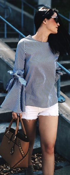 #spring #outfits  Striped Bell Sleeve  Top & White Denim Short