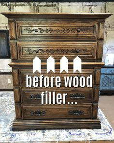 The Best Wood Filler I've Ever Used For Painted Furniture Not everyone loves the dated carved details on wood furniture and I'm always looking for the best wood filler to cover them before I paint. Furniture Repair, Old Furniture, Refurbished Furniture, Colorful Furniture, Paint Furniture, Repurposed Furniture, Furniture Projects, Furniture Makeover, Vintage Furniture