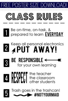 Free poster - Classroom rules LOVE THIS!!!!!
