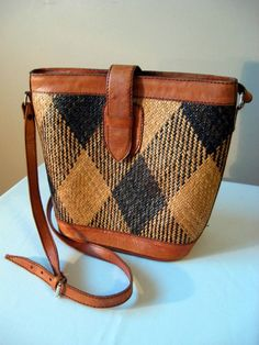 Vintage Leather and Woven Wicker Shoulder Bucket Bag