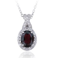 Sterling Silver 2.28ct Garnet & White Topaz X and Oval Necklace. Starting at $1
