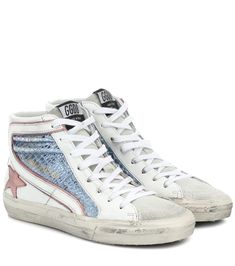 Golden Goose - Exclusive to Mytheresa – Slide metallic leather sneakers Metallic Leather, Cow Leather, White Leather, Metallic Blue, Leather Fabric, Cute Shoes, Me Too Shoes, Trendy Shoes, Leather Sneakers