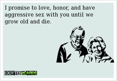 I promise to love, honor, and have aggressive sex with you until we grow old and die.