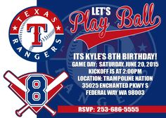Texas Rangers Baseball Birthday Invitation MLB Party Invitation. by EboniesDesigns on Etsy