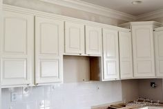 Steps on how to paint oak kitchen cabinets white.
