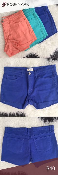 """Bundle of 3 Colored Denim Shorts Summer Sale!! All three of these shorts I have never worn and are NWT. I'm also selling them individually but if you buy all three it's heavily discounted. They are a juniors size """"large"""" but match my other size 28 Jean shorts. Shorts Jean Shorts"""