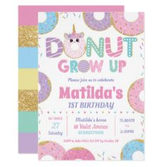 Shop Donut Grow Up Kawaii Birthday Invitations Girl created by LollipopParty. Personalize it with photos & text or purchase as is! Donut Birthday Parties, Donut Party, Birthday Ideas, Card Birthday, 5th Birthday, Birthday Celebration, Birthday Cakes, Personalized Invitations, Zazzle Invitations