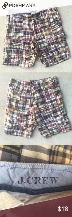 J. Crew Madras Patchwork Plaid Shorts ☀️ J. Crew Madras Patchwork Plaid Multicolor Mens Shorts  Size 34  100% Cotton  Preowned good used condition J. Crew Shorts