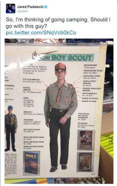 Baby Jensen, modeling in the Boy Scout catalog. (Tweet by Jared Padalecki)