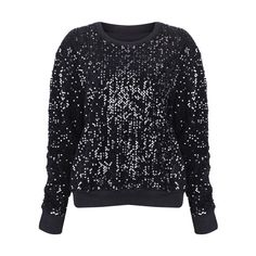 Paillette Black Metallic Jumper ($49) found on Polyvore