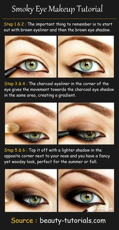 Smoky Eye Makeup Tutorial Products Needed: Dark brown eyeliner Black eyeliner Dark Brown eyeshadow Charcoal eyeshadow Light bro...