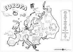 Zwierzęta Europy - Printoteka.pl Geography For Kids, Maps For Kids, Stem Science, Science For Kids, Montessori Activities, Preschool Activities, Summer Camp Activities, Material Didático, Polish Folk Art