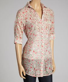 This Beige & Red Rose Button-Up Top by Good Stuff Apparel is perfect! #zulilyfinds