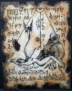 Cthulhu Necronomicon page WITCH QUEEN ocult horror magick Steampunk Necronomicon Lovecraft, Lovecraft Cthulhu, Larp, Art Sombre, Witch Queen, Lovecraftian Horror, Dark Artwork, Templer, Arte Obscura