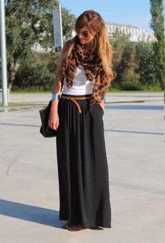 Black Maxi Skirt, White Tank & Leather & Print Accessories.