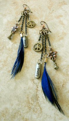 Fun Feather Charm Earrings / Free US Shipping by KRDesign on Etsy