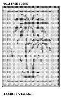 Palm tree scene filet crochet doily afghan pattern by dasmade Filet Crochet Charts, Crochet Doily Patterns, Crochet Cross, Crochet Designs, Crochet Doilies, Crochet Stitches, Embroidery Patterns, Crochet Curtains, Tapestry Crochet