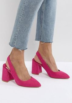 Discover a range of high heels with ASOS. Fromt black heels to bright silver, browse our range of classic peep toes, pumps or strappy sandals from ASOS. Block Heels Outfit, Pink Block Heels, Heels Outfits, Block Heel Shoes, Pink Heels Outfit, Lace Up Heels, Pumps Heels, Stiletto Heels, Comfortable Heels