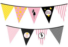 Ready To Pop Pink - Baby Shower Themed Pennant Set. Perfect to hang on the wall or the edge of a table. Precut and hole punched. Perfect DIY baby shower decoration. #readytopop #shopcnf