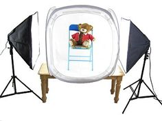 """20"""" and 33"""" light tent with photo lamps - photo tent, light tent, light box, product photography kit."""