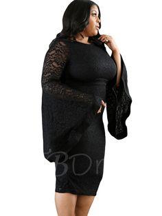 Flare Sleeve Lace Women's Sheath Dress
