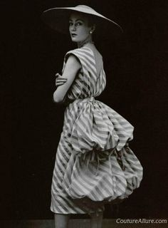 Balenciaga tan and white striped silk dress. Spring, 1951.