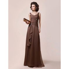 A-line Straps Floor-length Chiffon Mother of the Bride Dress – US$ 197.99