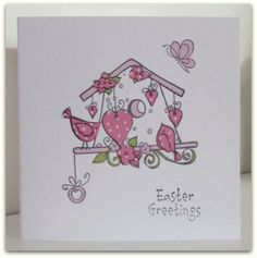 Easter BirdHouse Paper Patchwork Card by thesparklyfairy on Etsy, £2.50