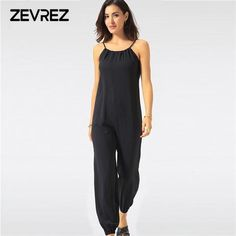 3e1efb76e1c Summer Jumpsuit for Women Sexy Casual Black Sling Backless Lantern Pants Female  Overalls Elegant Beach Rompers Plus Size Zevrez
