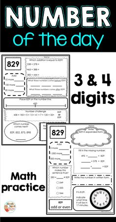 Number of the Day Worksheets - 3 & 4 digits Primary Classroom, Classroom Ideas, Missing Number, Expanded Form, Math 5, Number Patterns, Rounding, Teaching French, Educational Activities