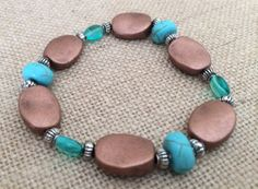 Turquoise & Copper Stretch Bracelet by RedWillowCreations on Etsy, $12.00