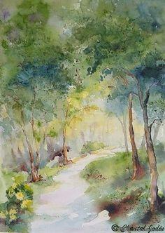 Resultado de imagen para paintings of paths in watercolor Watercolor Pictures, Watercolor Trees, Easy Watercolor, Watercolor Landscape, Landscape Art, Landscape Paintings, Watercolor Paintings, Watercolors, Art Aquarelle