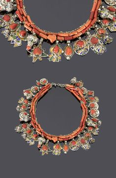 Algeria - Grand Kabylia | Necklace; coral, silver, enamel, coins (dated 1308H/1890) May '15)