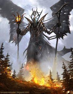 Fire Demon by Ramses Melendez on ArtStation. High Fantasy, Fantasy Rpg, Dark Fantasy Art, Medieval Fantasy, Fantasy Artwork, Dark Art, Fantasy Monster, Monster Art, Fantasy Creatures