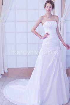 Simple Strapless Neckline A-line Floor Length Satin And Chiffon Wedding Dresses