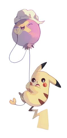 Pikachu and Drifloon by bluekomadori.deviantart.com on @DeviantArt