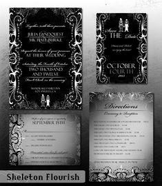 DIY Skeleton Flourish Wedding Invitation by DoubleActionDesign, $50.00