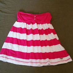 HOLLISTER strapless stripe shirt Pink and white stripe strapless shirt :-) VERY CUTE !!! Hollister Tops Tank Tops