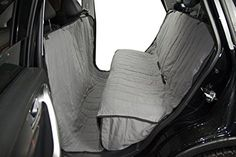 """PERNICE Quilted Microfiber Pet Seat Cover with Side Flaps for Cars, SUVs, Trucks Non Slip Backing Hammock Convertible Dog Bench Cover (54""""W x 91""""L, Gray)"""