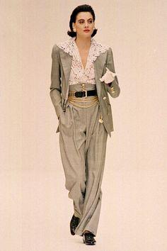 Inès de la Fressange modeling for Chanel Couture, 1998