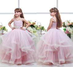 2016 Pink Ball Gown Wedding Flower Girl Dresses Tutu Spaghetti Beaded Sash Sweep Train Ruffles Corset Girls Pageant Dresses Baby Party Gowns Online with $72.99/Piece on Sweet-life's Store | DHgate.com
