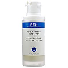 Pore Minimising Detox Mask by Ren -- A bioactive clay mask, with spirulina to encourage renewal of skin cells. Also contains EFA's from tea leaves, which helps to smooth imperfections.