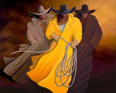 THREE COWBOYS cowgirl and cowboy painting by Lance Headlee http://lance-headlee.artistwebsites.com/featured/three-cowboys-lance-headlee.html see more Lance Headlee original western paintings at http://lanceheadlee.com