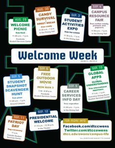 Welcome Week events are designed to help you become part of the campus and meet fellow students. Student Gov, Student Council, Student Life, Student Leadership, Student Success, College Freshman Tips, College Fun, College Activities, College Icebreakers