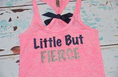 Little But Fierce. Glitter Writing. Bow. Tank top. Size S-2XL. Exercise. Soft. Women. Workout. Fitness. on Etsy, $21.00