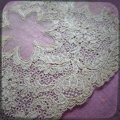 Stunning Antique French Lace Trim Lace 1 1/10 yards long - Large Vintage Fine Handmade Trim Fashion from France